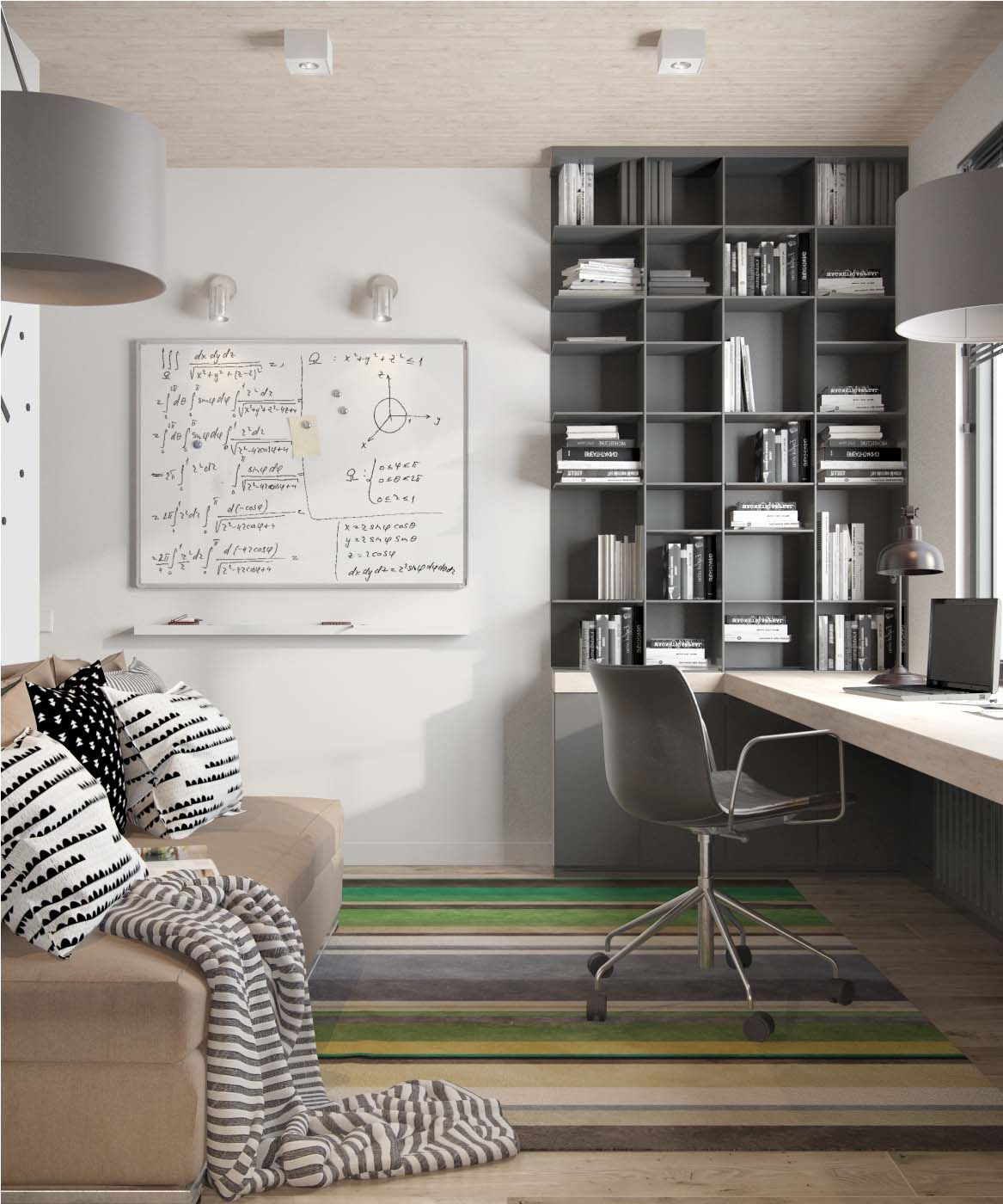 Living Spaces Office Furniture: Fresh Contemporary Living Space With Minimalist Tones In