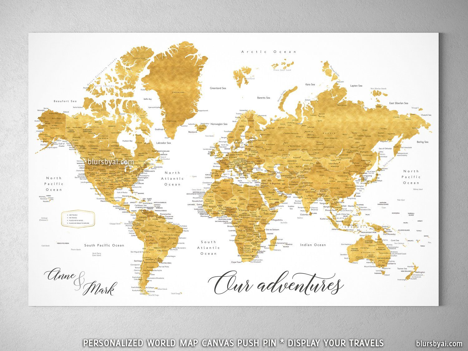 Personalized world map with cities canvas print or push pin map in personalized world map with cities canvas print or push pin map in shades of gold rossie gumiabroncs Image collections