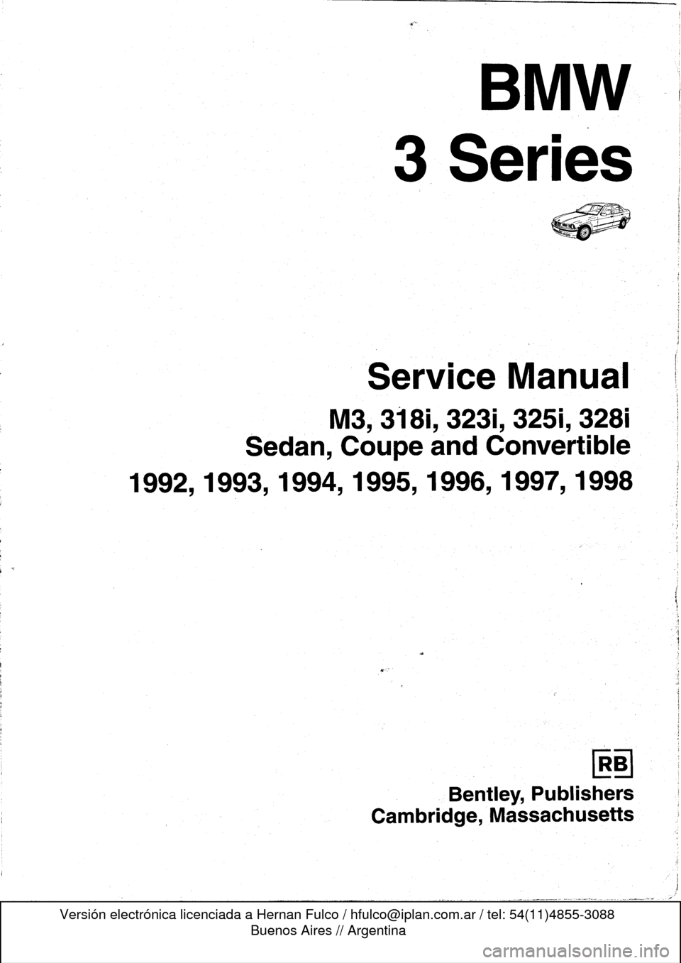 Bmw M3 1994 E36 Workshop Manual Bmw Bmw M3 Manual Car