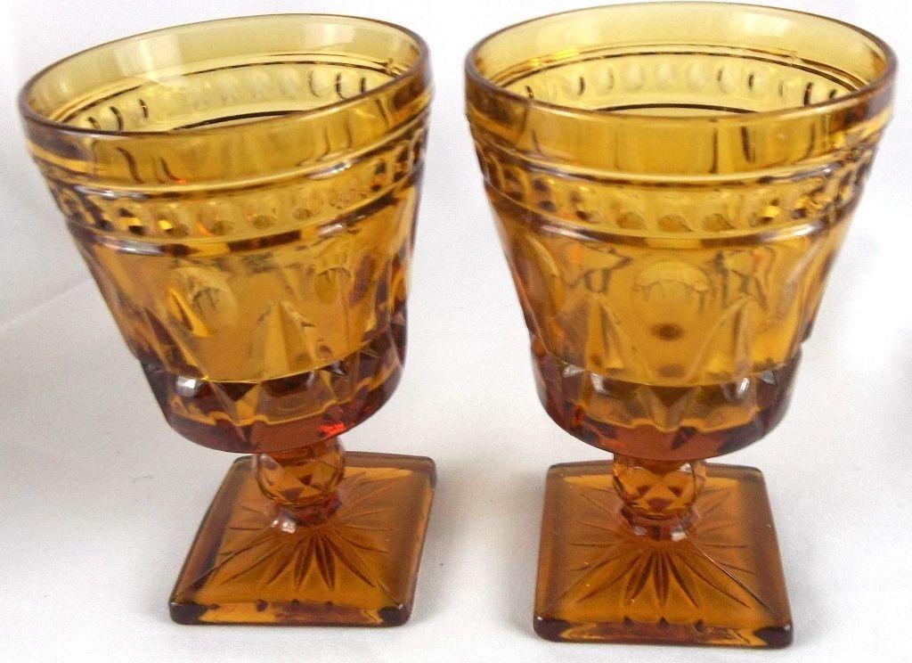 Glassware Vintage Amber Depression Glass Wine Goblet Square Bowl Smooth Stem