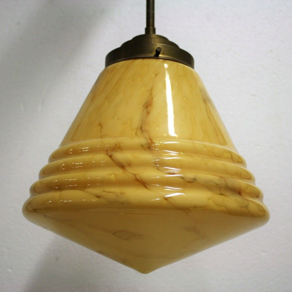 Antique conical marbled pendant light s in Art deco