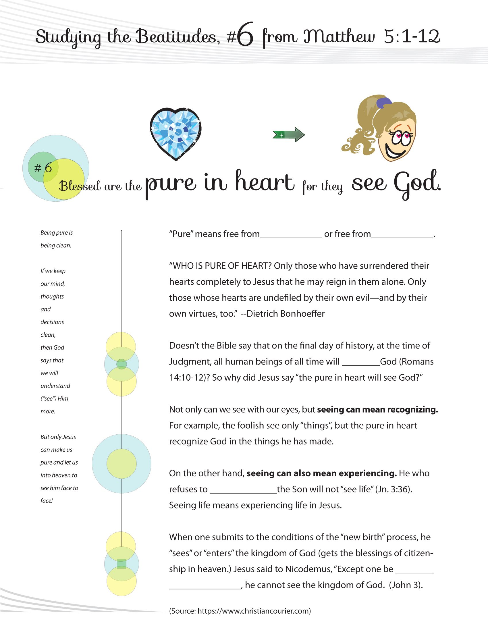 Worksheet To Teach The 6th Beatitude Of The Christian Life