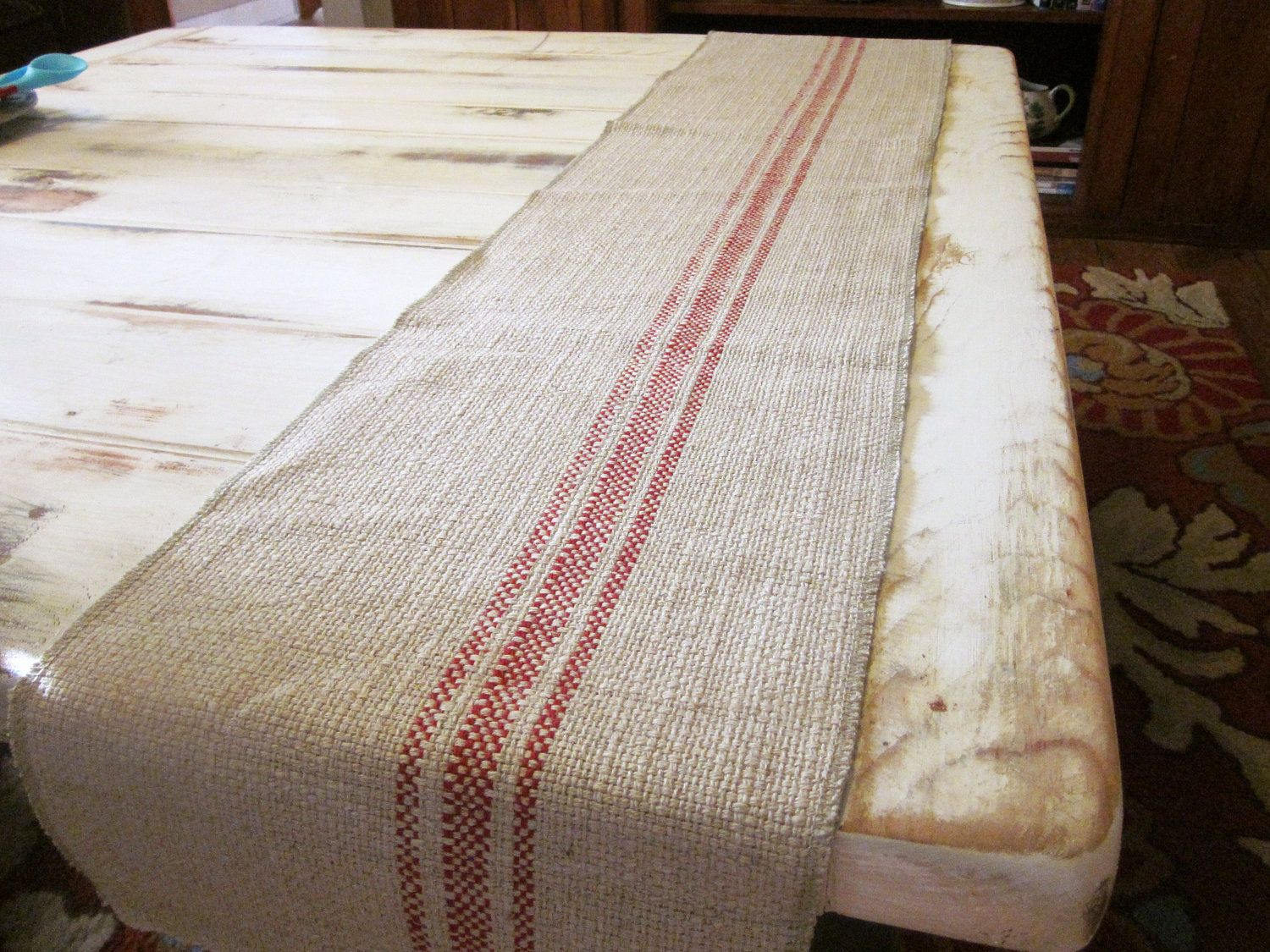 Farmhouse Style Table Runners French Country Table Runner Woven Cotton Linen Tan And