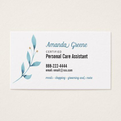 Personal Care Assistant Caregiver Business Card Zazzle Com Personal Care Assistant Business Card Typography Personal Care