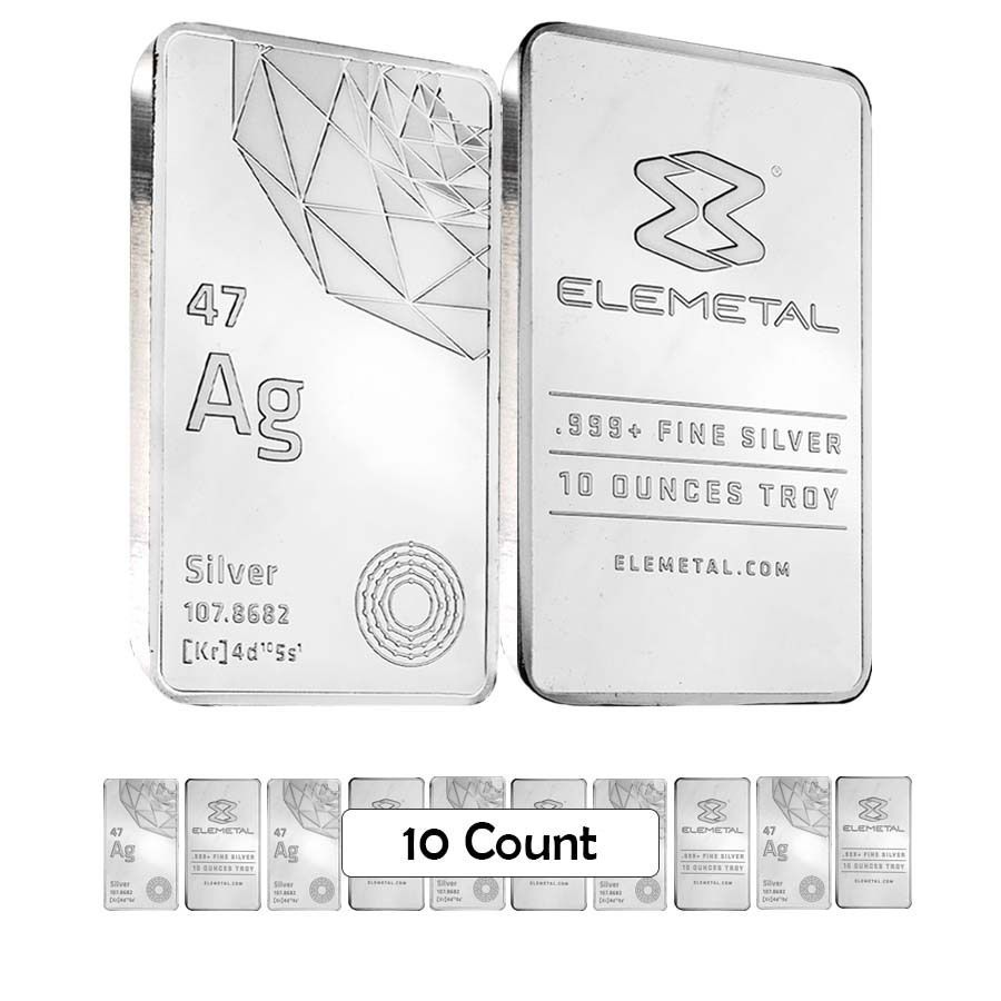 Lot Of 10 Elemetal Mint 10 Oz Silver Bar 999 Fine Sealed Silver Bars Silver Silver Bullion