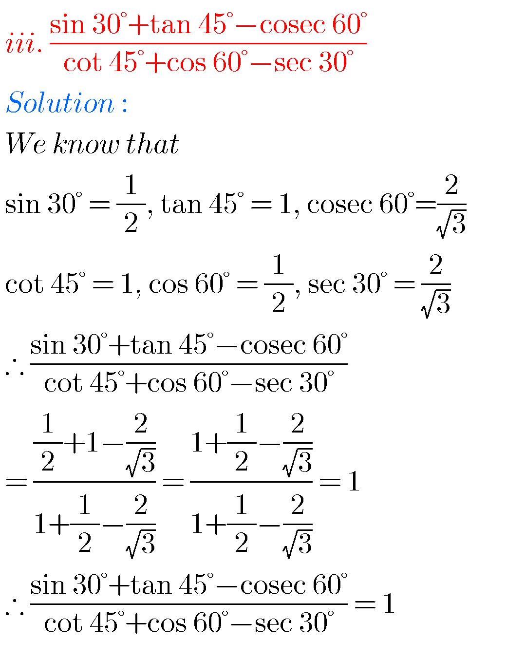 SSC mathematics Trigonometry solutions class 10 - Maths Glow   Common core  math fractions [ 1353 x 1039 Pixel ]