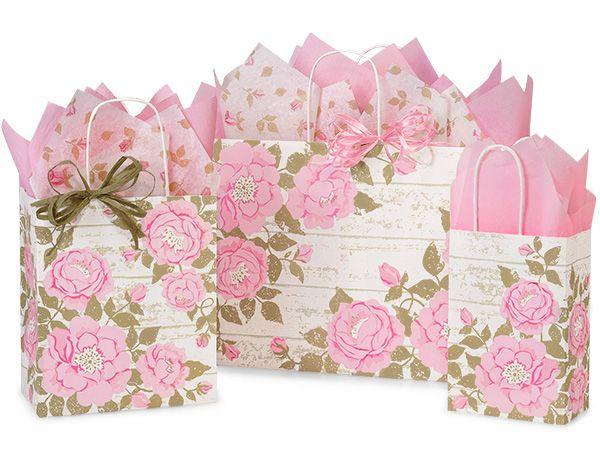 125 Cottage Rose Garden Assortment 50 Rose, 50 Cub, 25 Vogue is part of Cottage Rose garden - Cottage Rose Garden Paper Shopping Bag Assortment is made from 100% recycled white kraft paper containing minimum 40% recycled material  Green Way® EcoFriendly Packaging is made in the USA  Assortment includes 125 Bags Total  50 Rose, 50 Cub, and 25 Vogue  This is a Nashville Wraps exclusive design! See All Cottage Rose Products
