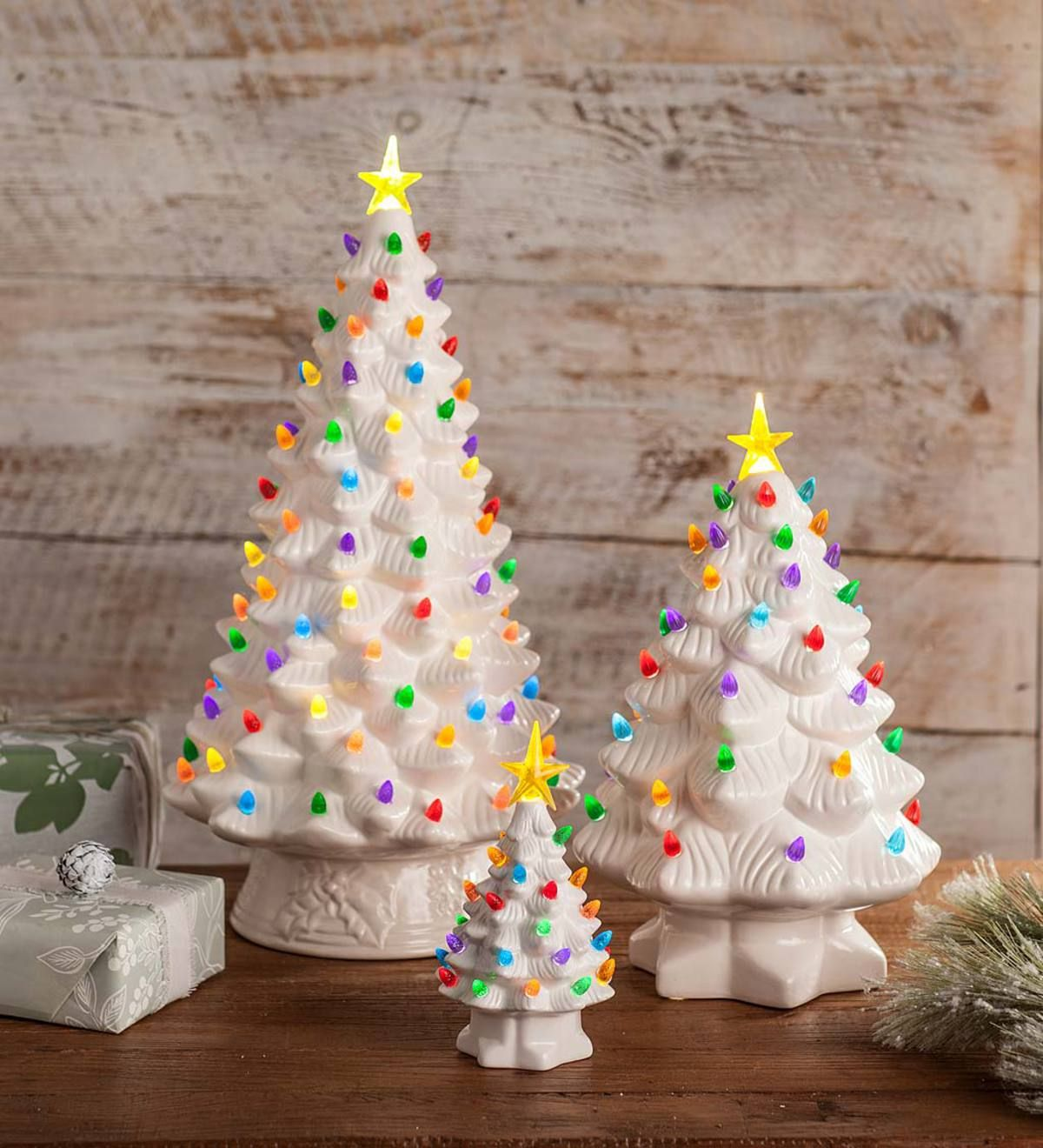 Indoor Outdoor Battery Operated Lighted Ceramic Christmas Tree Outdoor Holiday Decorations Holiday Shop Plowhearth Ceramic Christmas Trees Outdoor Christmas Decorations Outdoor Christmas