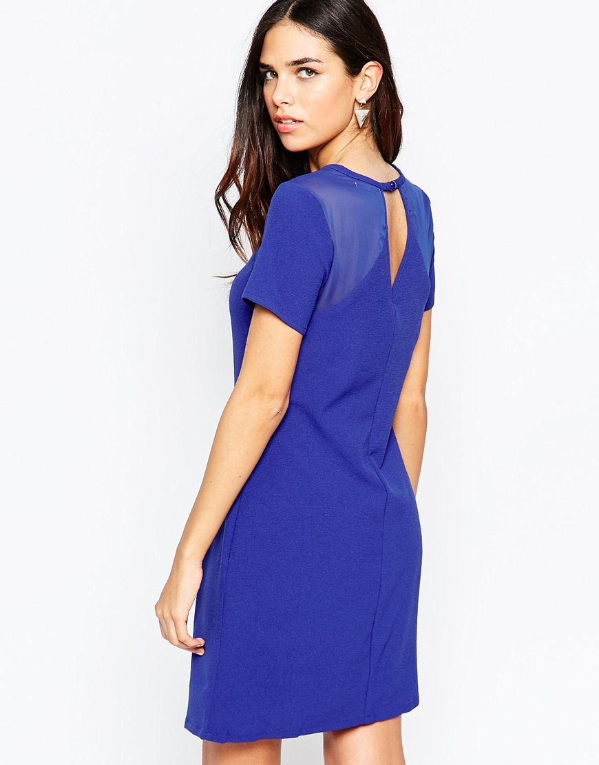 Lavand Short Sleeve Shift Dress With Keyhole Back | bridesmaids ...