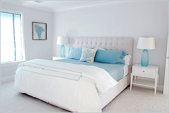 stunning coral beach bedroom | Aqua and white beach bedroom. Coral pillow accent and sea ...