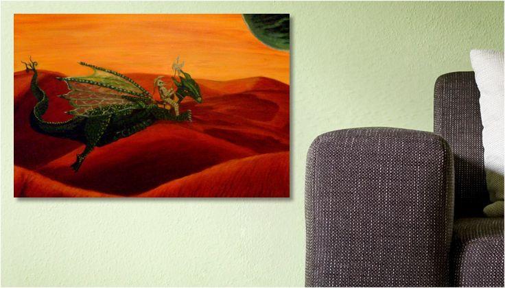 Tableau #dragon Peinture  LA CHEVAUCHÉE FANTASTIQUE une toile de