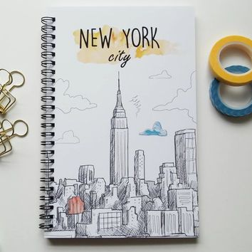 Writing journal, spiral notebook, bullet journal, cute journal diary, sketchbook, travel journal, vacation, blank lined grid – New York City