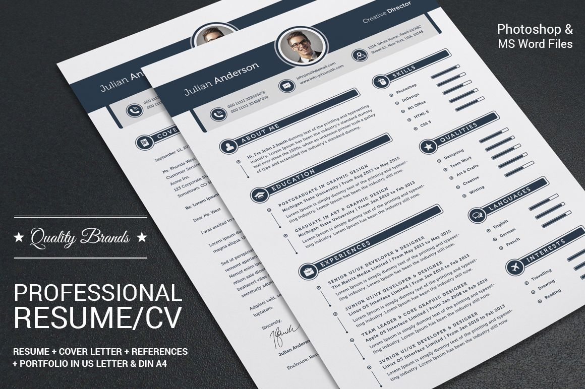 4 Pieces Resume Cv Set Template By Snipescientist On