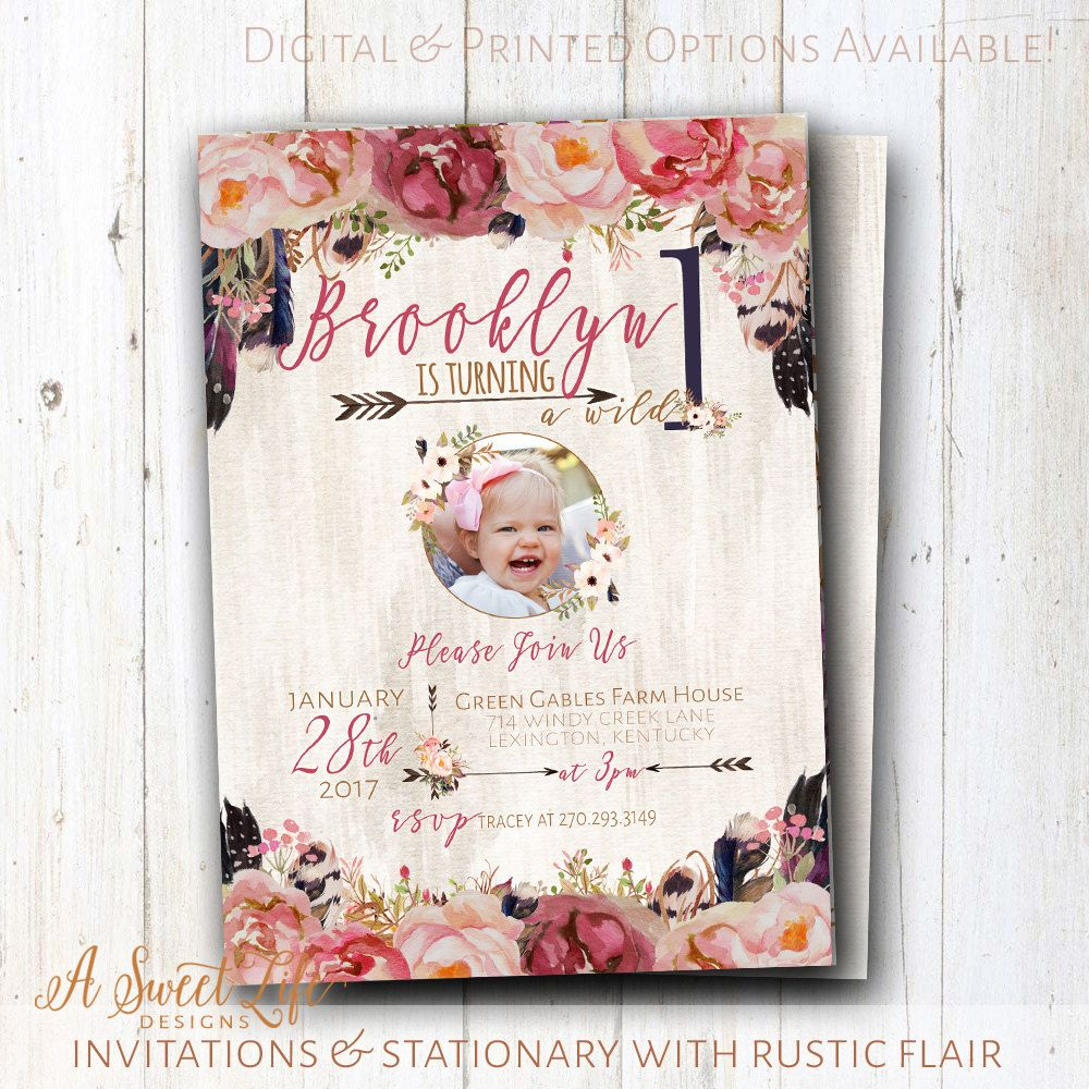 Wild One Birthday Invitation - Bohemian baby girl birthday - Boho ...