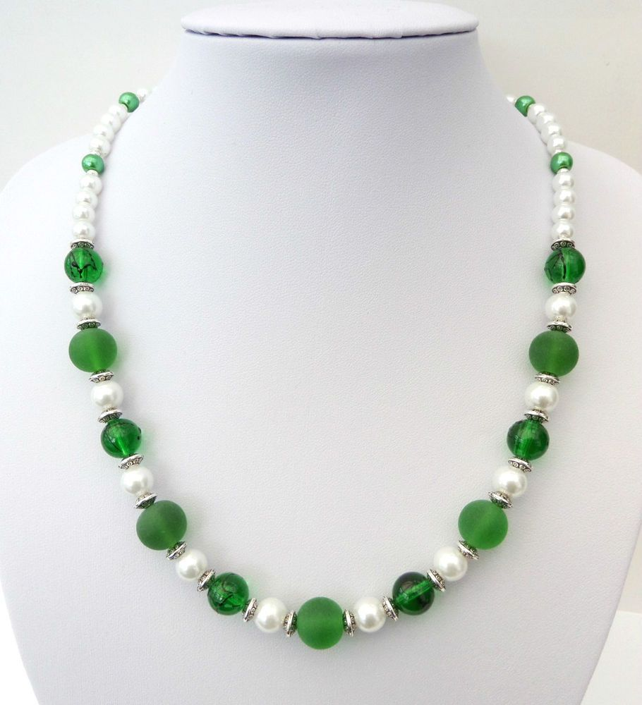 White pearl and mixed green bead necklace 20 Gift or treat