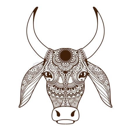 Cabeza De Vaca Decorada Con Ornamento De Zentangle Vector De Stock