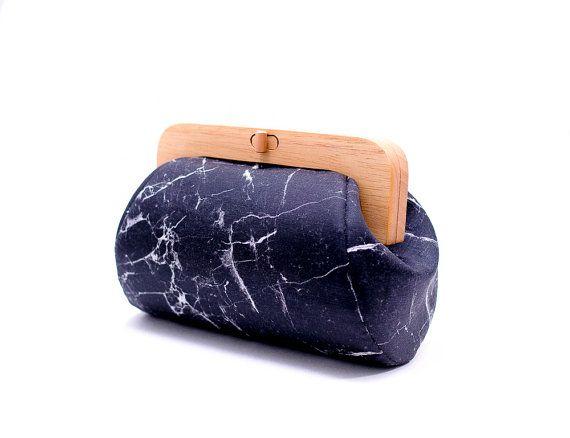 Black Marble Bag Minimalist Clutch Wooden Frame Purse Evening