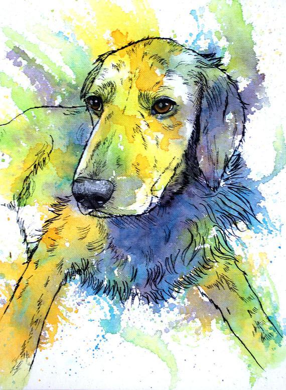 Custom Pet Portrait Watercolor Dog Painting Custom Colorful