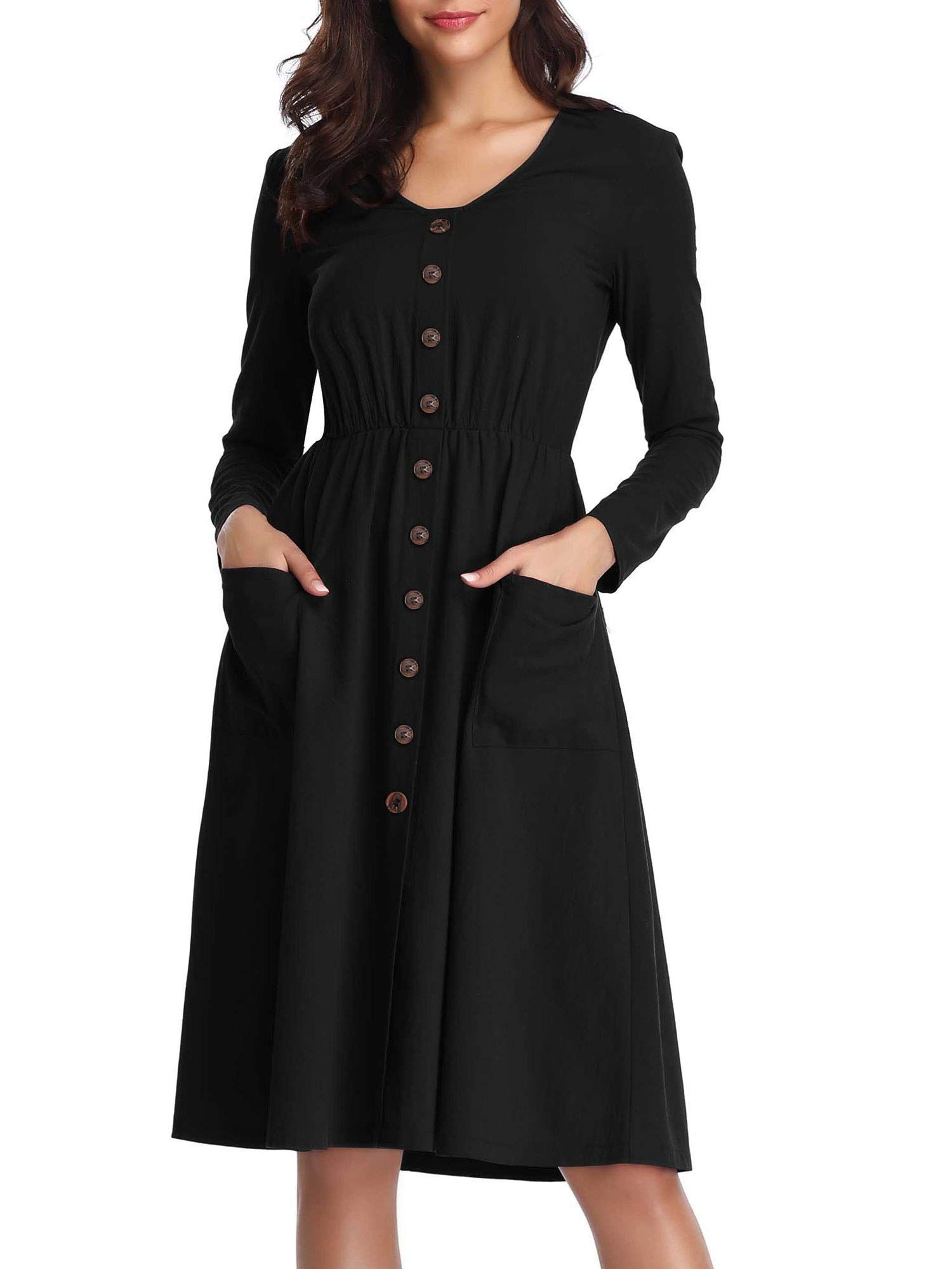 4260abd12d27 HUHOT Women's Long Sleeves V Neck Casual A-Line Flared Midi Dress with  Pockets