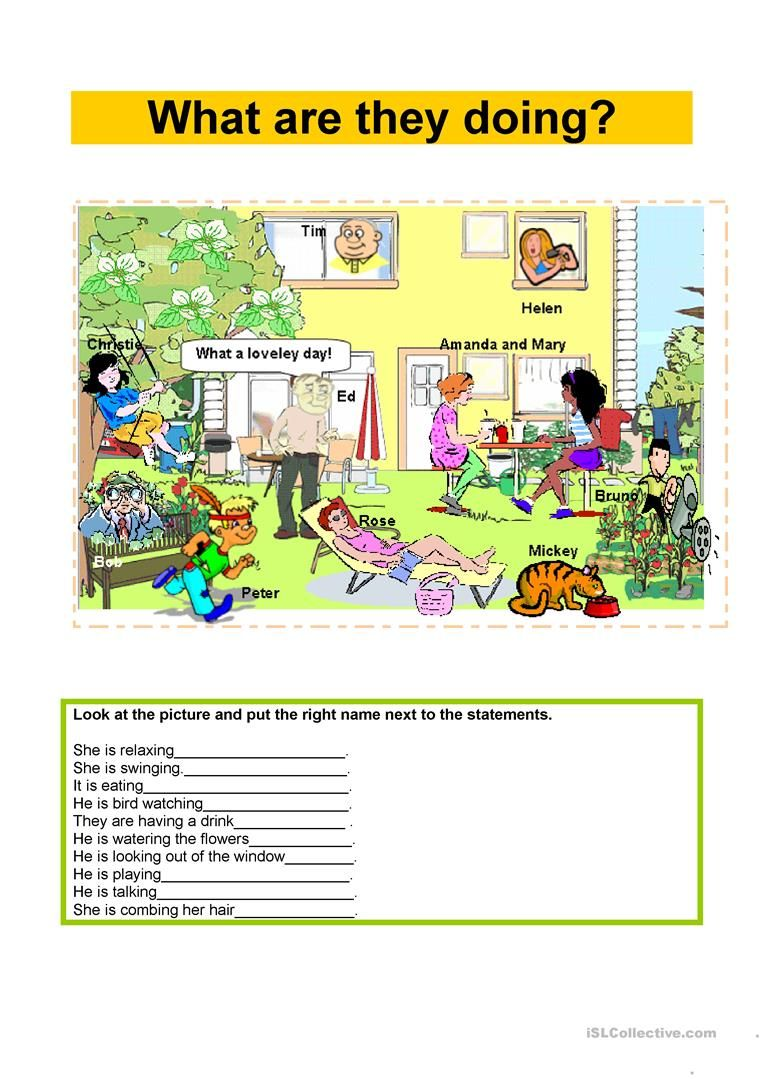 Present Continuous - What are they doing? worksheet - Free ESL ...