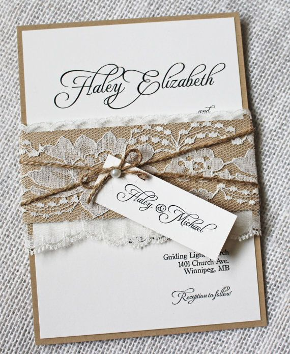 Cheap Shabby Chic Wedding Invitations: Rustic Wedding Invitations. Lace Wedding Invitation
