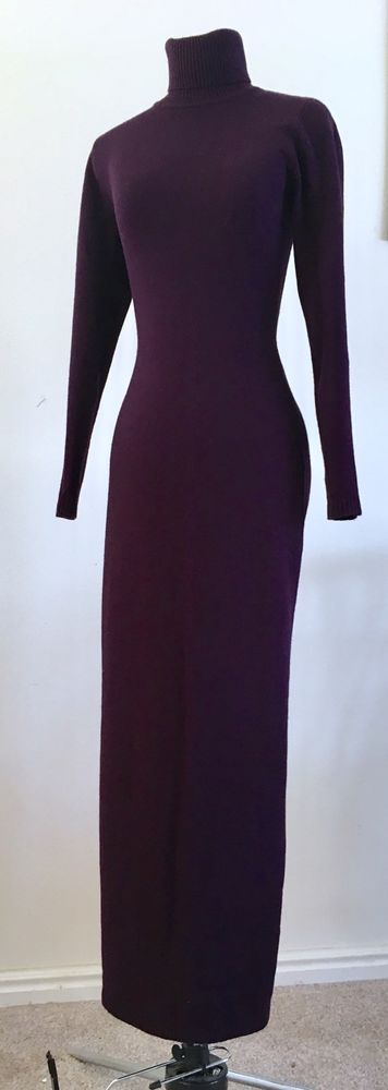Victoria's Secret Knit Maxi Turtleneck Dress Silk Cashmere Blend #VictoriasSecret #Maxi