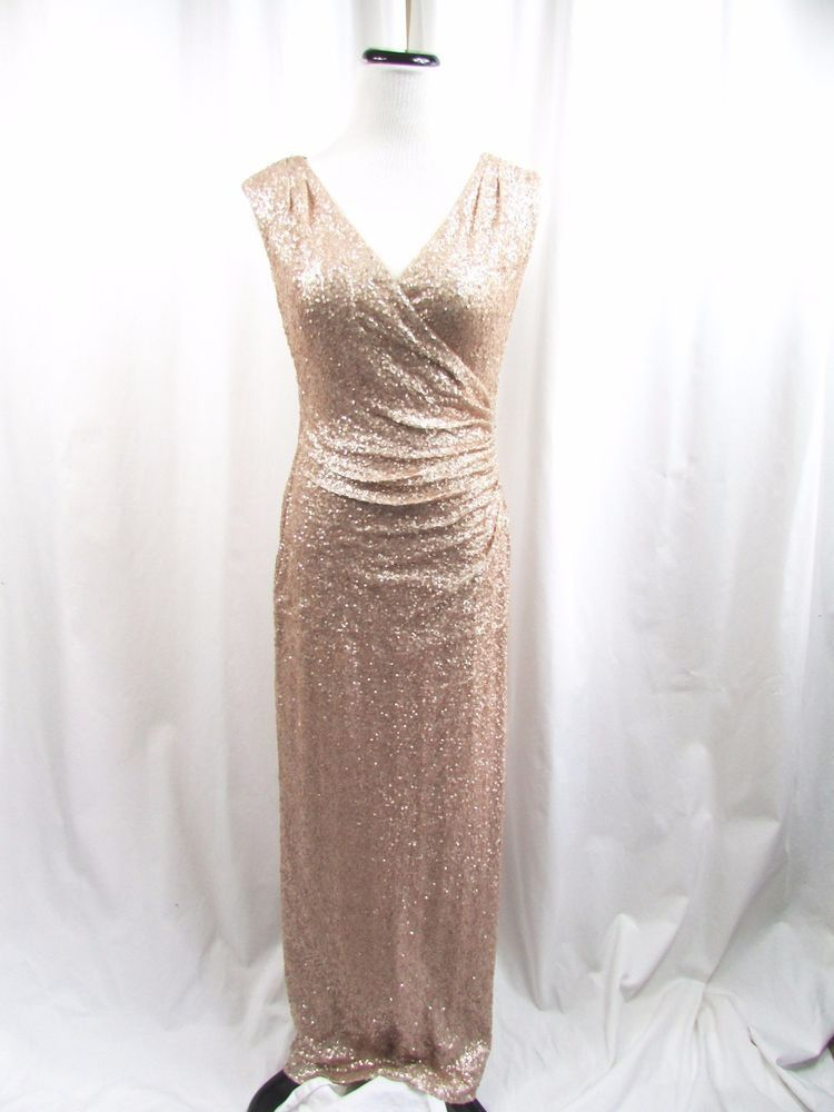 Lauren Ralph Lauren Evening Rose Gold Sequin Gown Leg Slit Size 8