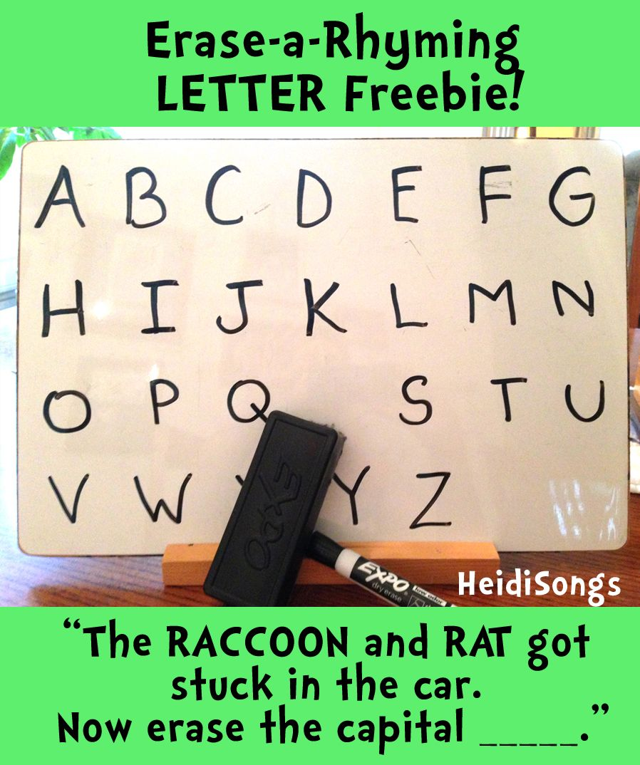 EraseaRhyming LETTER!!! (Freebie!) Rhyming activities