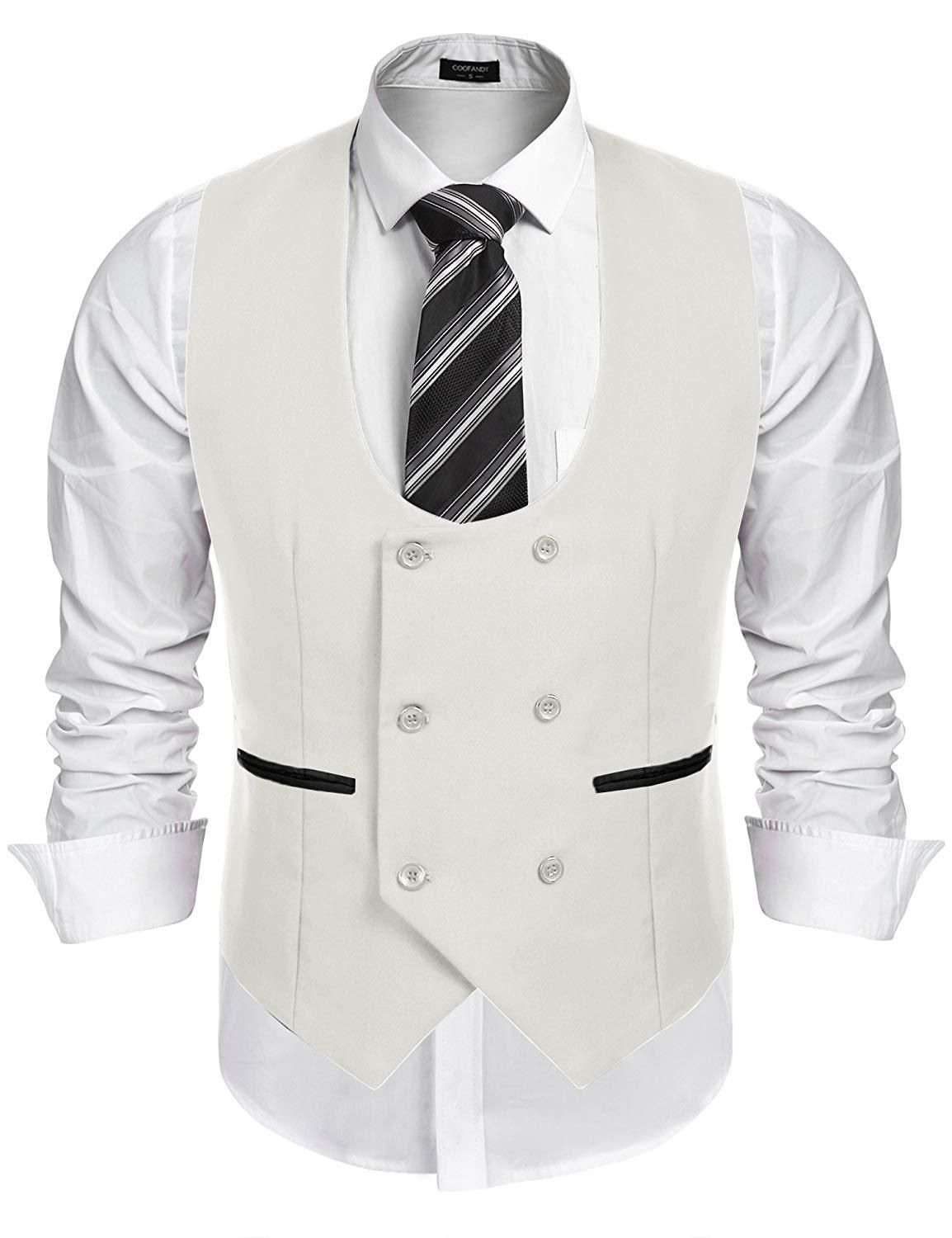 1b301cf875d COOFANDY Men's Slim Fit Sleeveless Suit Vest Double Breasted ...