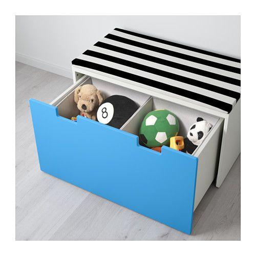 stuva bank met bergruimte wit blauw ikea opberg ideetjes kinder speelgoed pinterest. Black Bedroom Furniture Sets. Home Design Ideas