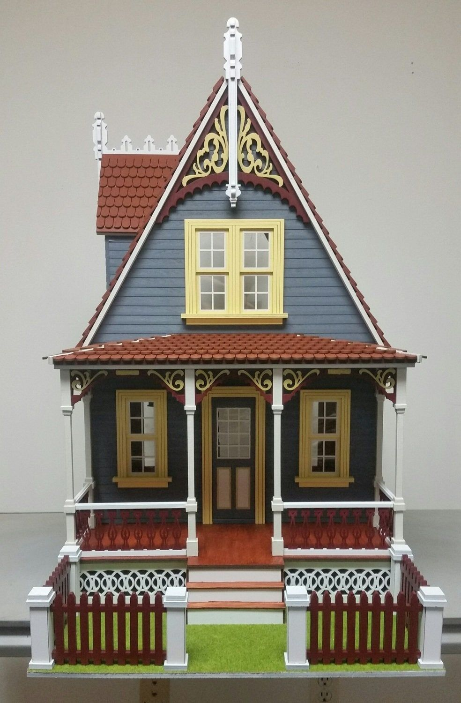 1 12 Scale Dollhouse Miniature Cottage Dollhouse Kit Anna Etsy Dollhouse Kits Victorian Cottage Victorian Dollhouse