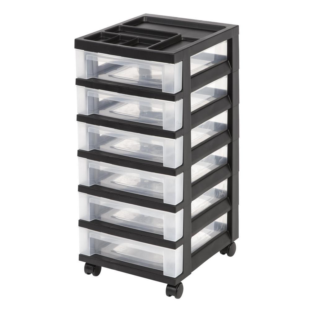 Iris 68 Qt 6 Drawer Storage Bin In Black 116833 The Home Depot Storage Drawers Rolling Storage Storage Cart