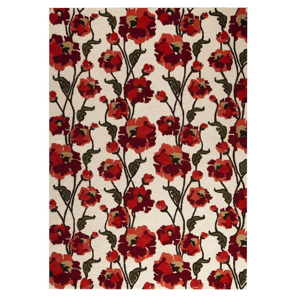 MAT The Basics MAT The Basics Norwich 2017 Indoor Area Rug, White/Red, Wool and Viscose, 5.25 x 7.5 ft.$647