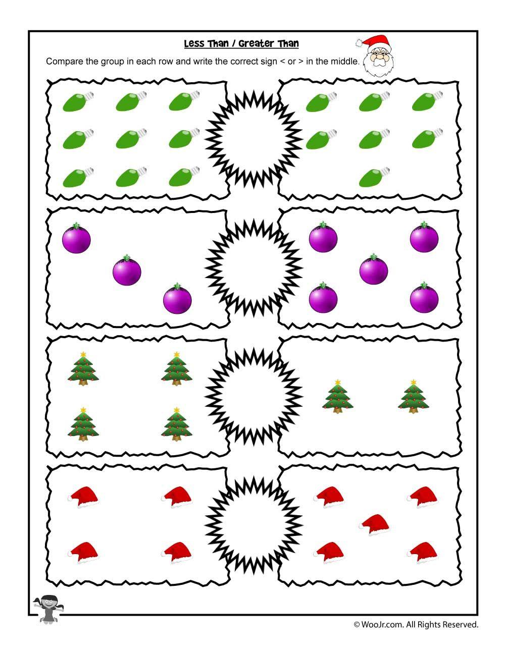 Easy 1 10 Greater Than Less Than Worksheet Woo Jr Kids Activities Thanksgiving Math Worksheets Kindergarten Math Worksheets Addition Christmas Math Worksheets
