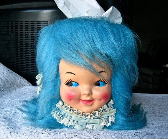 Vtg. Queen of KITSCH Doll Square Tissue Paper Cover. Fake Fur Hair-Do- Doll Face-Lace  Bows, Pearl Earrings