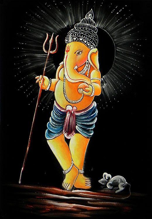 Ganesh with Trident (Painting on Velvet Cloth - Unframed))
