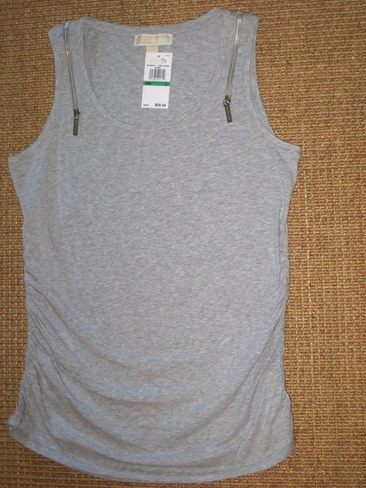 c9ab2241 MICHAEL KORS MK WOMEN'S LARGE TANK TOP RUCHED SIDE ZIPPERS GRAY SHIRT NEW  #MichaelKors #KnitTop #Casual