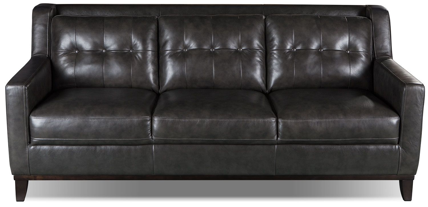 davina genuine leather sofa smoke the brick