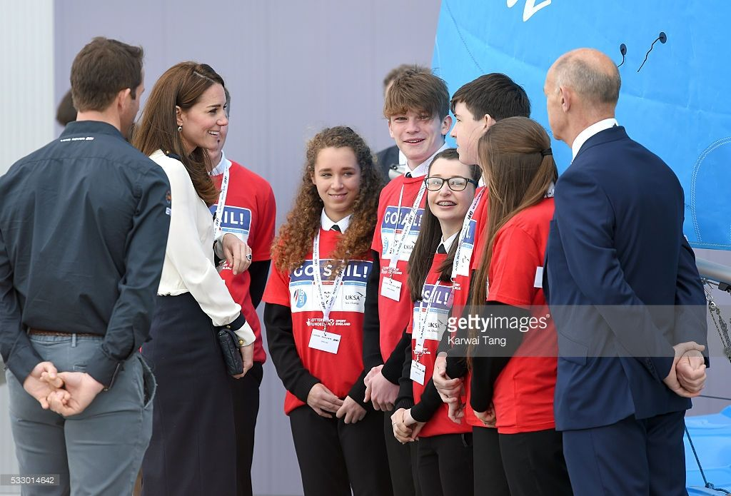 Catherine, Duchess of Cambridge visits the Land Rover BAR and the 1851 Trust on May 20, 2016 in Portsmouth, England.  (Photo by Karwai Tang/WireImage)