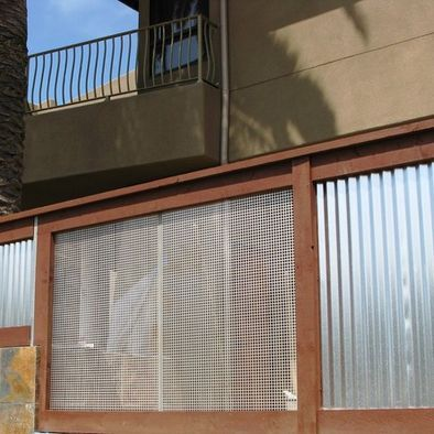Corrugated Iron And Wire Mesh Fencing Sheet Metal Fence Metal Fence Backyard Fences