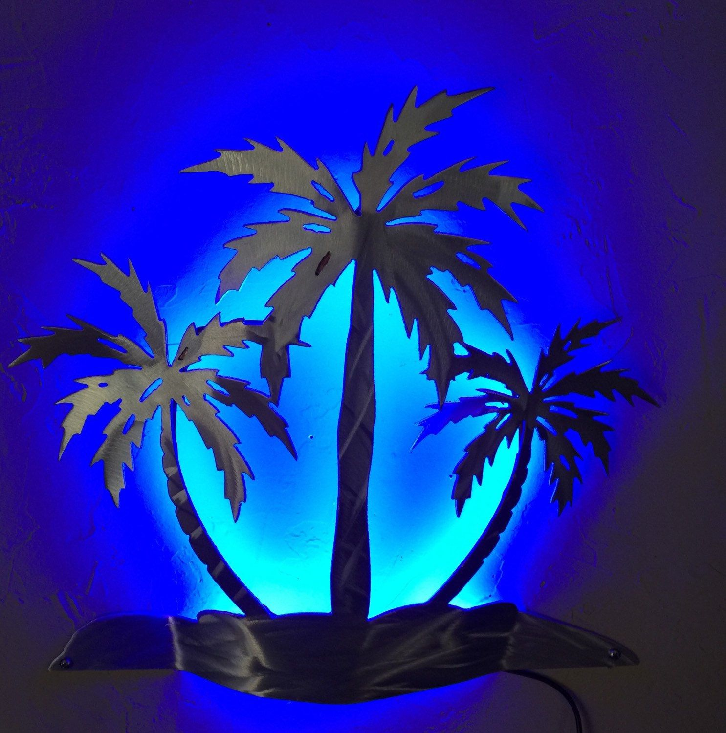 Palm Tree Metal Wall Art three palms, palm tree, wall sconce, wall light, beach house decor