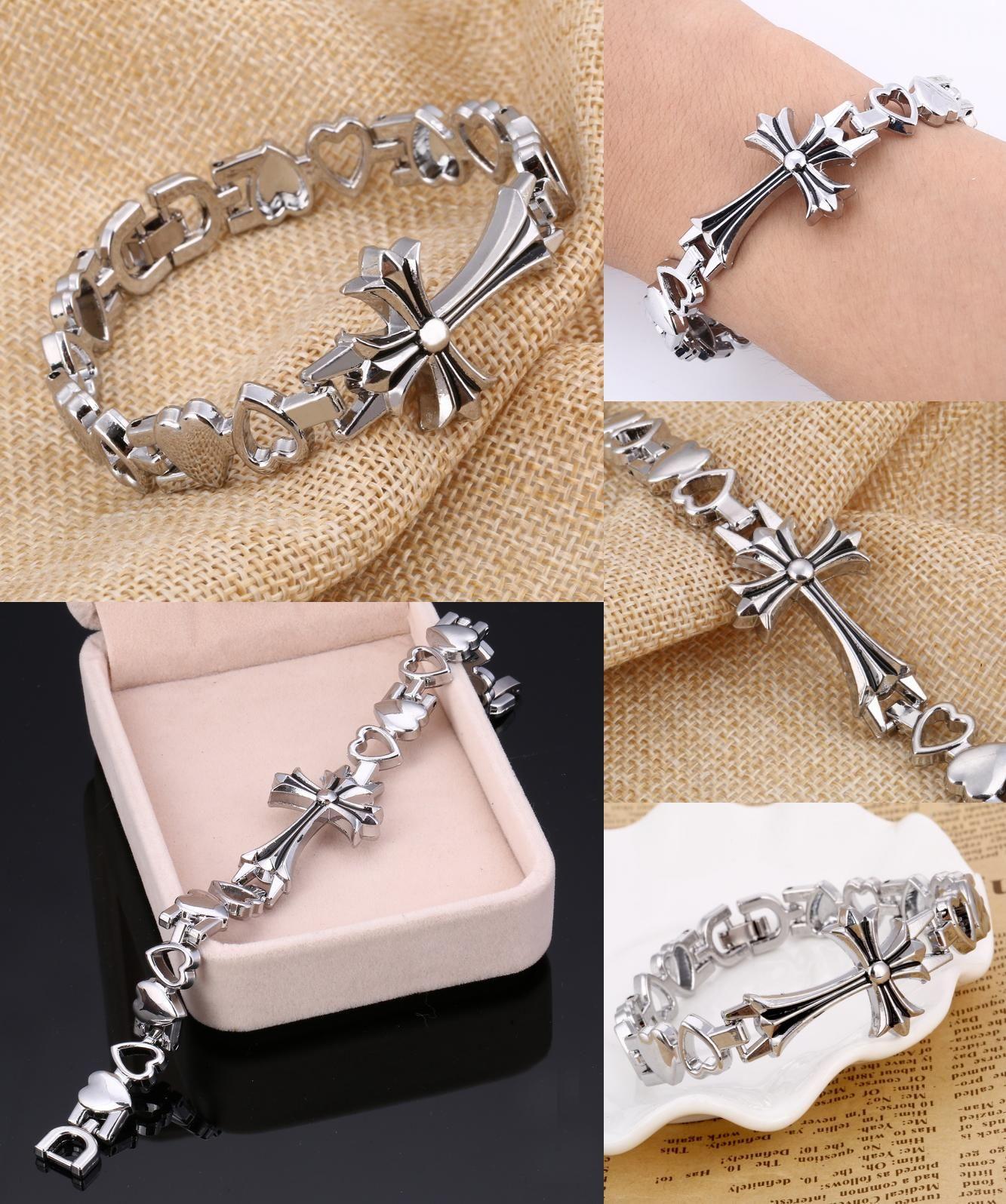 Visit to buy zoshi punk heart cross bracelet men silver color chain