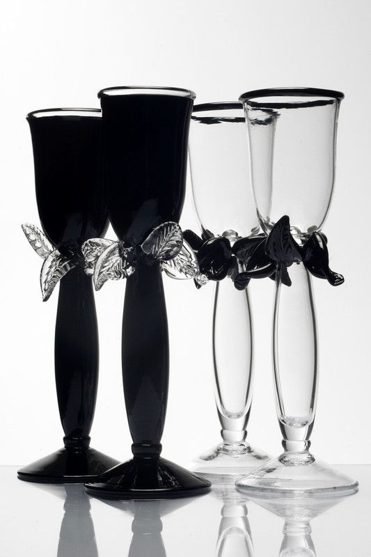 Black and White glasses by Borek Sipek. At the Hans Krug showroom in Charlotte, NC.