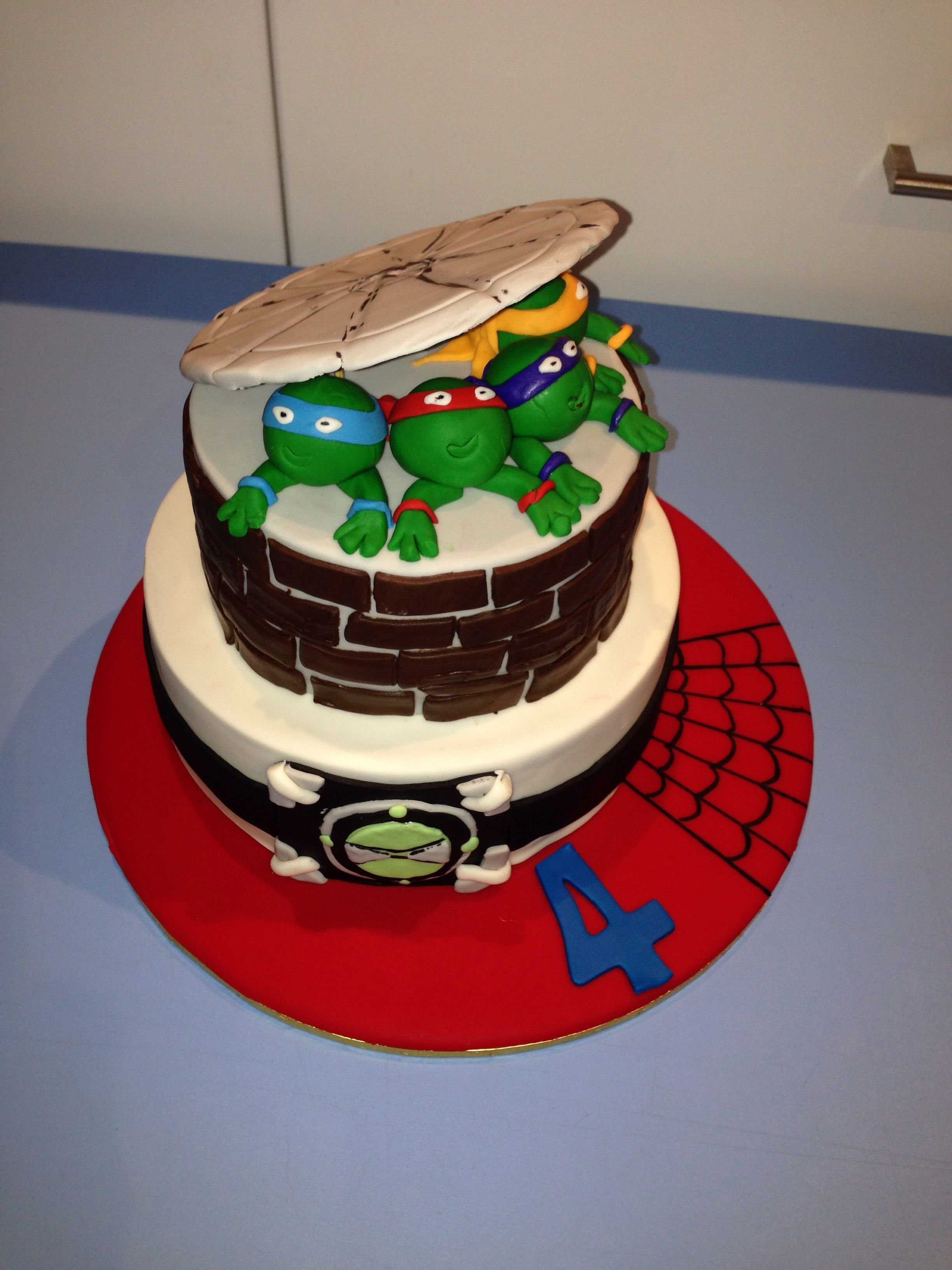 Ninja Turtle Tmnt Ben 10 And Spider Man Themed Cake For A 4th