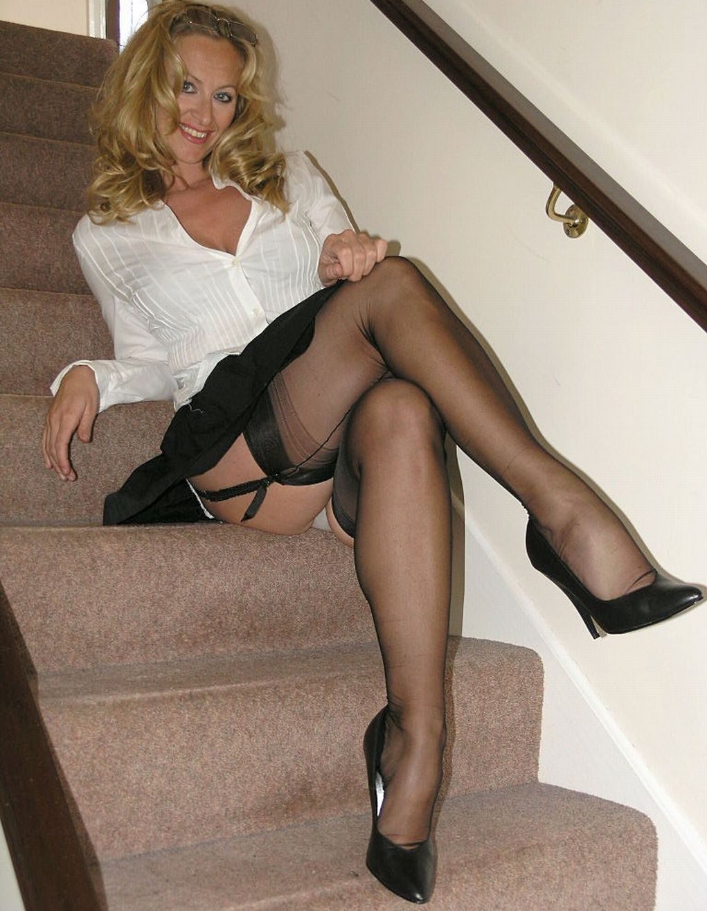 this is very english looking, with nylons, garter belt and white