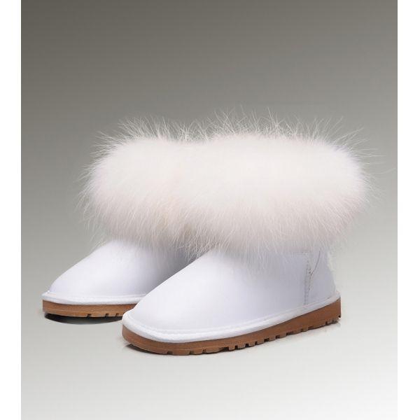 22c1a0fef9b Hot Sale White Elegant Ugg Fox Fur Mini 5854 Boots for Womens ...