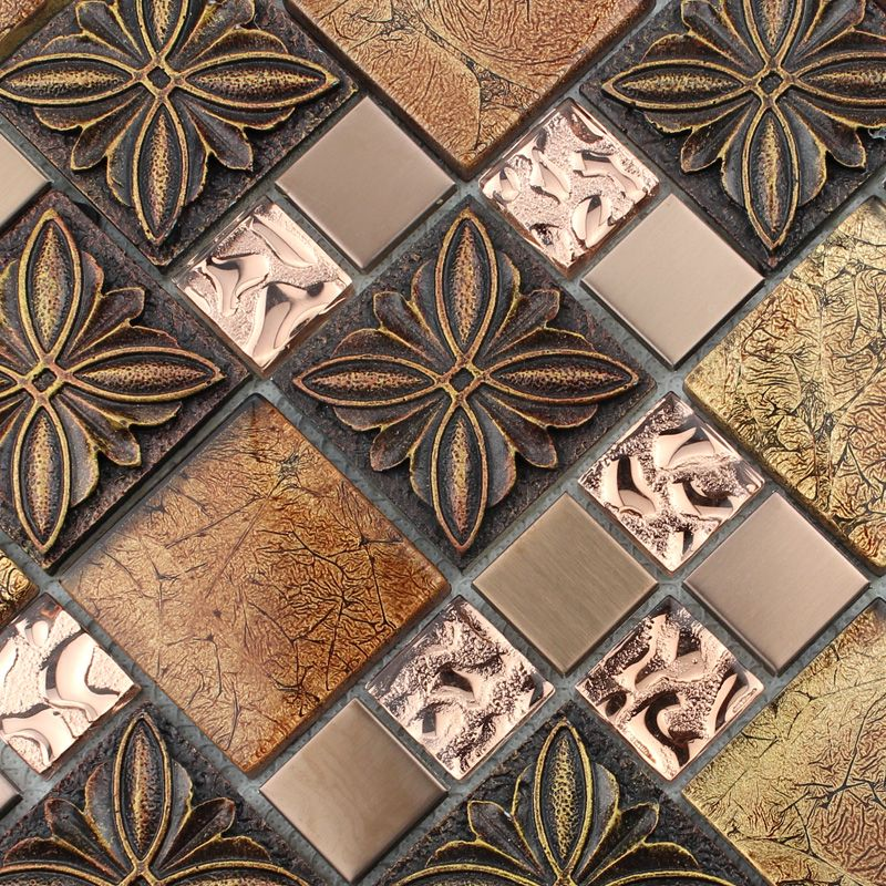 Gl Tile Brown Mosaic Tiles Crystal Kitchen Backsplash Wall Porcelain 1390