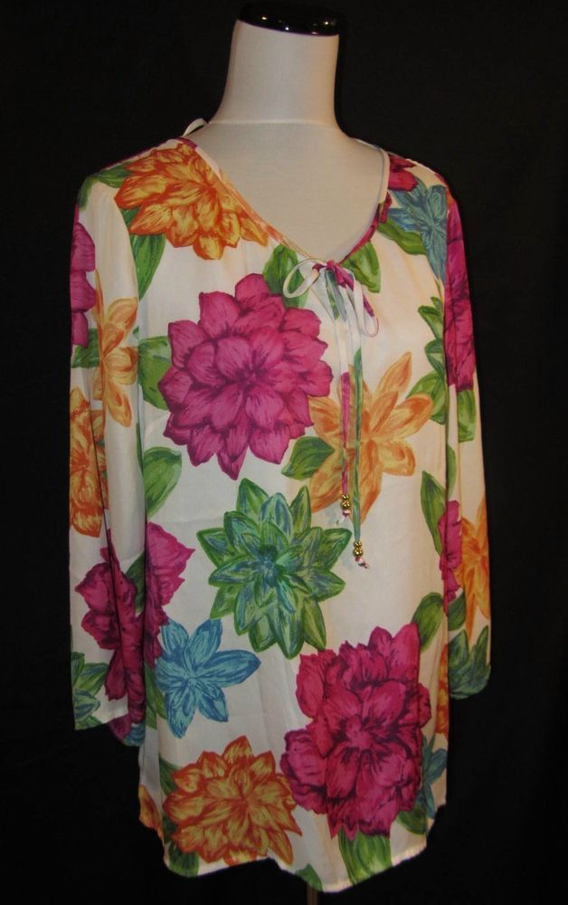 Charter Club size Extra Large Blouse Top Fushia PInk Flowers Boho Retro Ties #charterclub #Blouse #Career