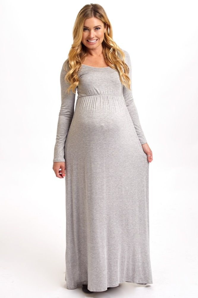 Grey and Pink Maternity Maxi Dresses