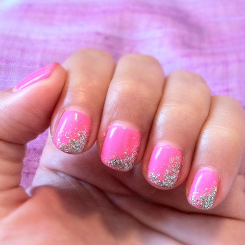 Easy Pink Nail Designs With Glitter Simple Nail Art Ideas Simple Nails Glitter Nails Diy Simple Nail Art Designs